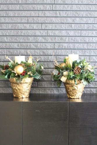 クリスマスフラワーギフト クリスマスフラワーアレンジ キャンドルアレンジ 軽井沢花屋