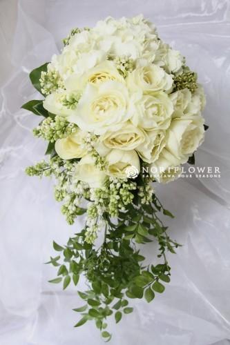 オールドローズブーケ ホワイト&グリーン 生花