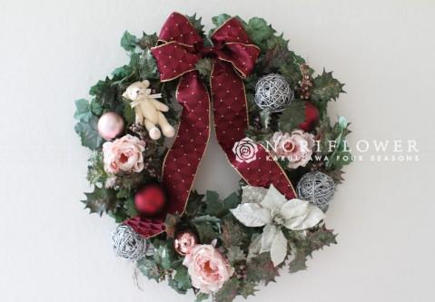 クリスマスリース ベア入り ドッドリボン