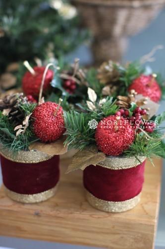 クリスマスアレンジメント 赤りんご