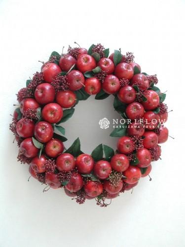 クリスマスリース 赤りんご