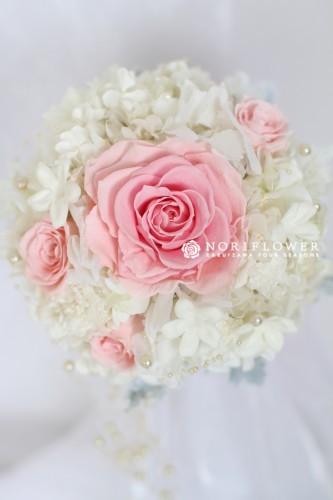 ピンクメリア&ホワイト プリザーブドフラワー ウェディングブーケ