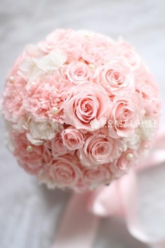 ウェディングブーケ プリザーブドブーケ ピンク&ホワイト