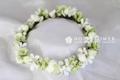 花冠 生花 ホワイト&ライムグリーン