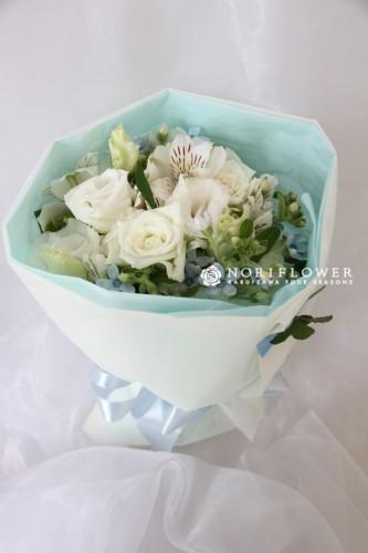ミニ花束 ホワイト&ブルー