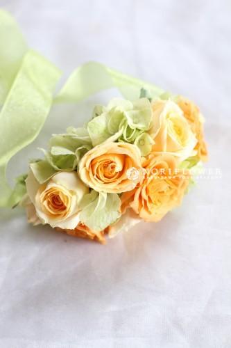 リストブーケ 生花 オレンジ&イエロー