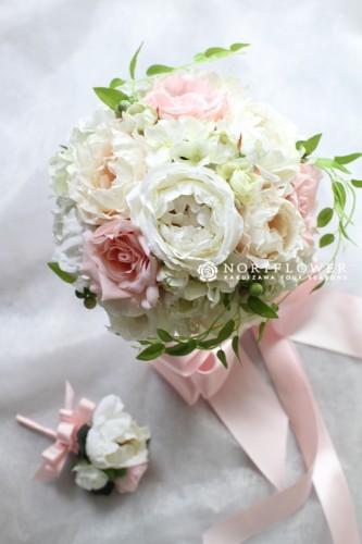 ホワイト&ピンク ラウンドブーケ アートフラワー