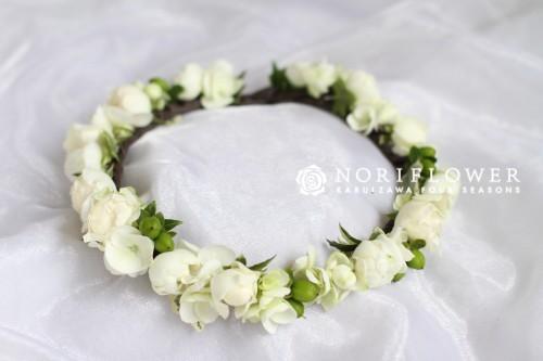 花冠 生花 ホワイト&グリーン