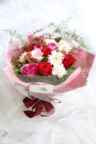 花束 ピンク&レッド