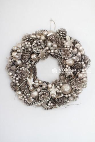 クリスマスリース ④ナチュラルゴールドシルバー 直径33㎝ 3675円