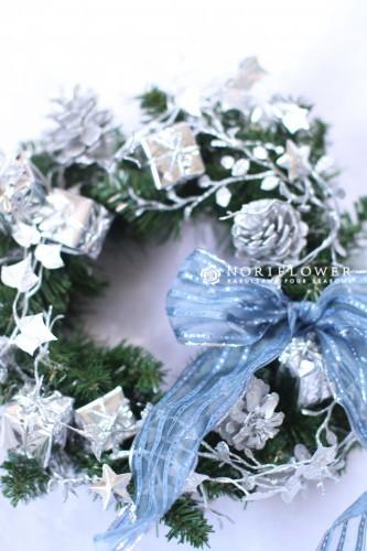クリスマスリース プレゼントBOX&ブルーリボン