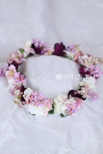淡いパープルピンクの花冠 ライラックの花冠 アートフラワー