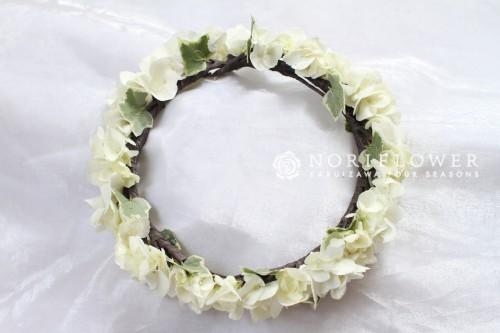 花冠 あじさい ヘアーサークル 白グリーン花冠 ウェディングフラワー ヘアーアクセサリー