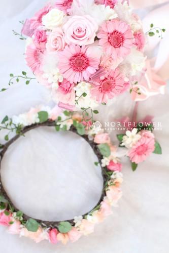ピンクガーベラ プリザーブドウェディングブーケ 軽井沢ウェディングブーケ 軽井沢ブーケ